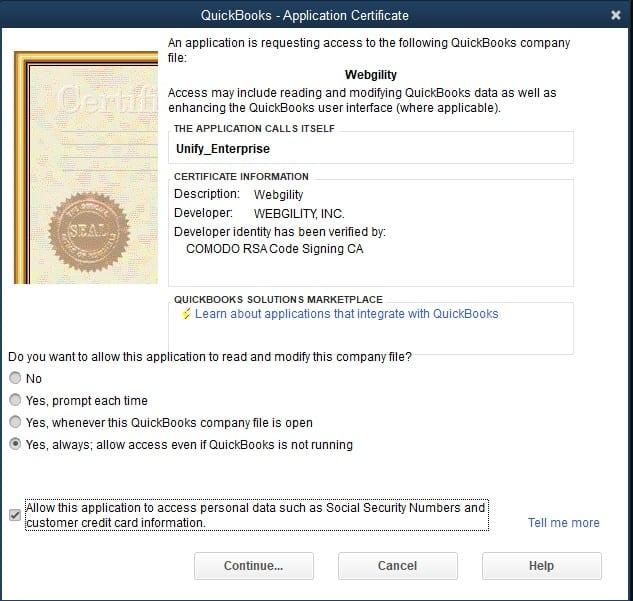 QuickBooks Application Certificate