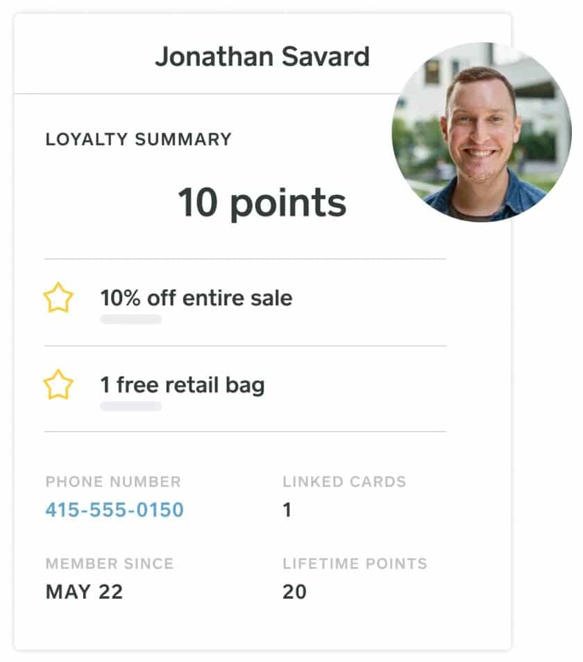 Screenshot of Quick Glance of Customer Points and Reward History on Square