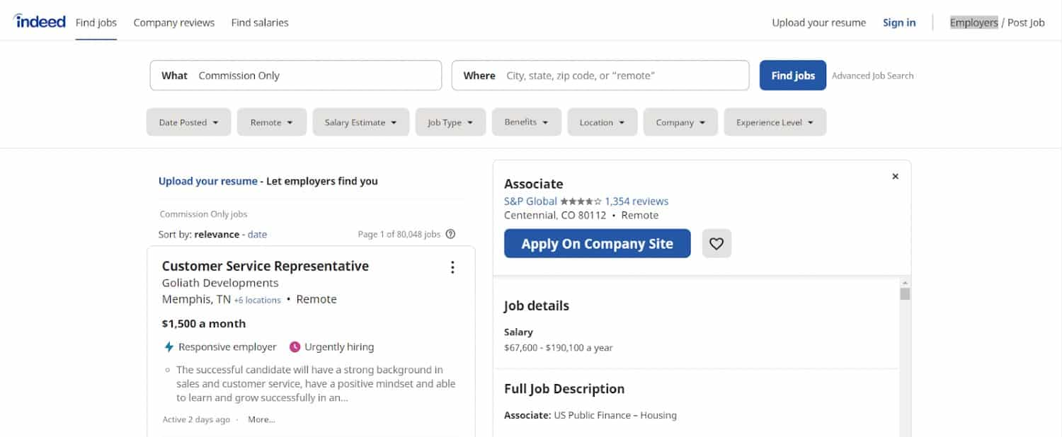 Screenshot of Remote Job Example Posted on Indeed