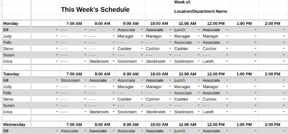 Screenshot of Schedule Template