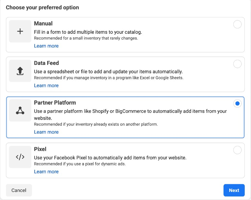 Screenshot of Selecting Partner Platform