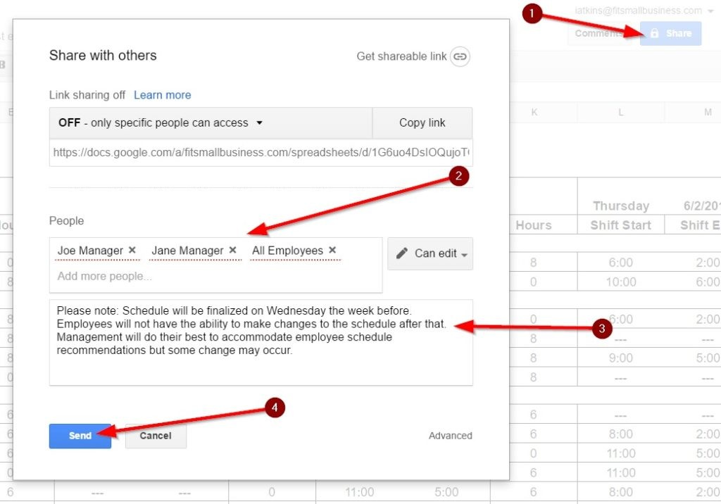 Screenshot of Sharing Your Employee Schedule Template