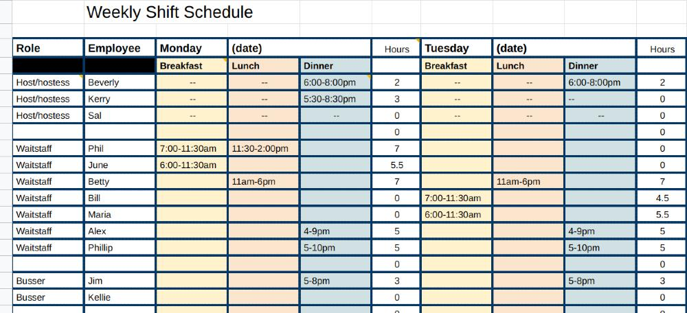 Screenshot of Shift Schedule Template
