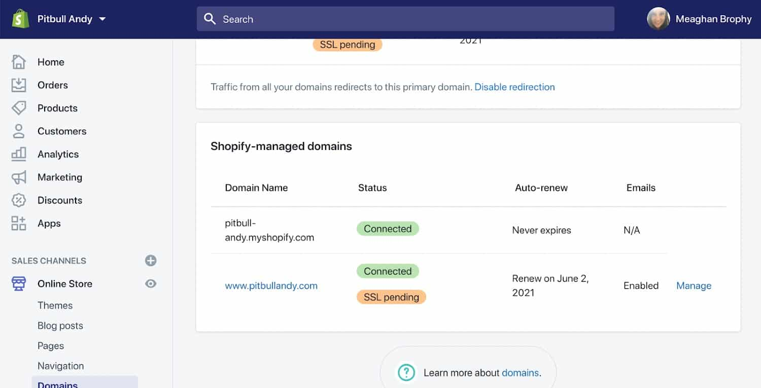 Screenshot of Shopify Managed Domains