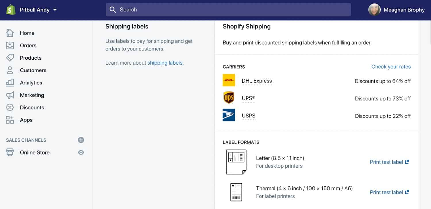 Screenshot of Shopify Offering Discounted Shipping Rates and Labels