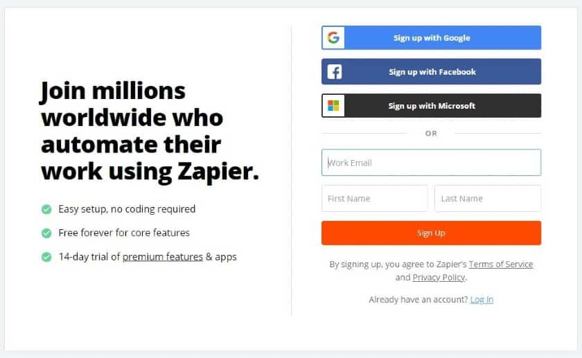 Screenshot of Signing Up for a Zapier Account