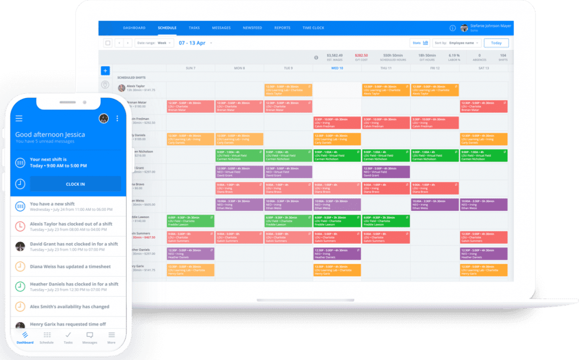 Screenshot of Sling Schedule on Desktop and Mobile