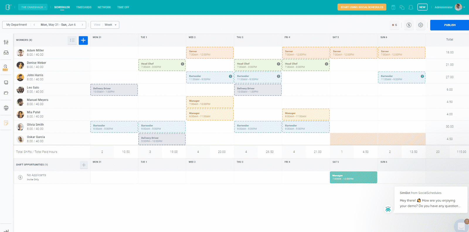 Screenshot of SocialSchedules Scheduling on Desktop