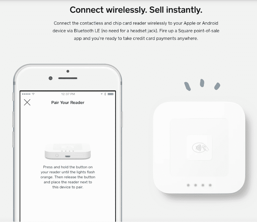 Screenshot of Square Contactless Reader