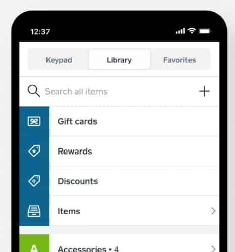 Screenshot of Square POS Application on Mobile