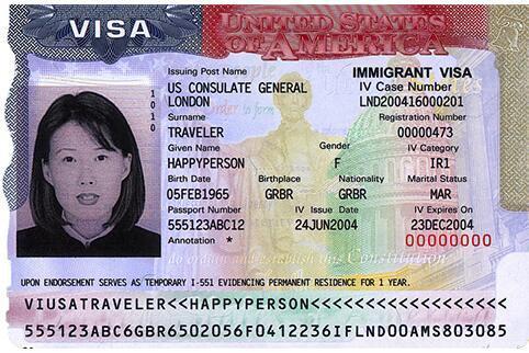 Screenshot of Temporary Immigrant VISA Card
