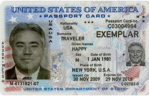 Screenshot of US Passport Card