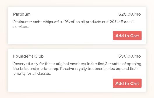 Screenshot of Vagaro Memberships
