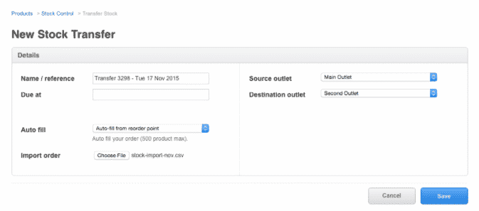 Screenshot of Vend Allow Businesses to Upload CSV Files to Import Product Data in Bulk