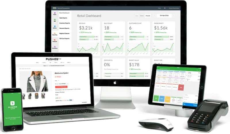 Screenshot of Vend Retail Dashboard on Various Devices