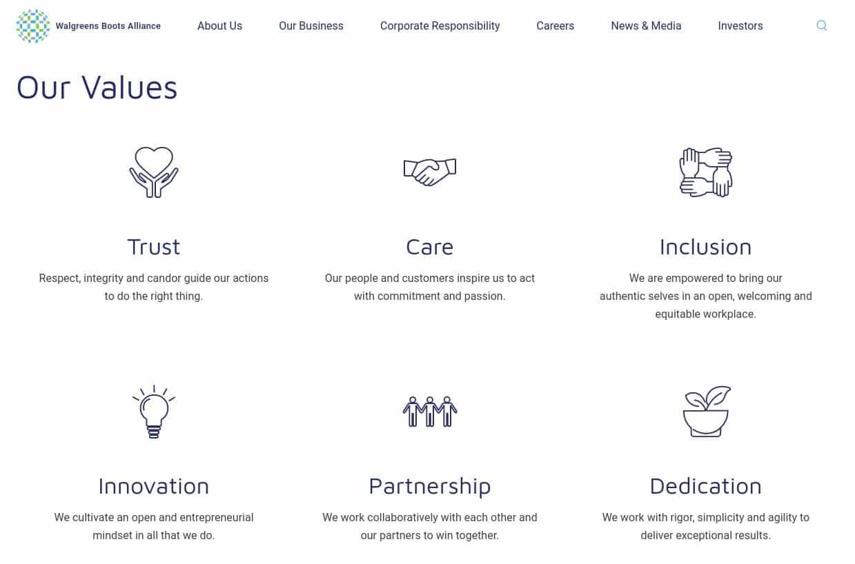Screenshot of Walgreens Values