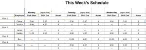 Screenshot of Weekly Schedule Template