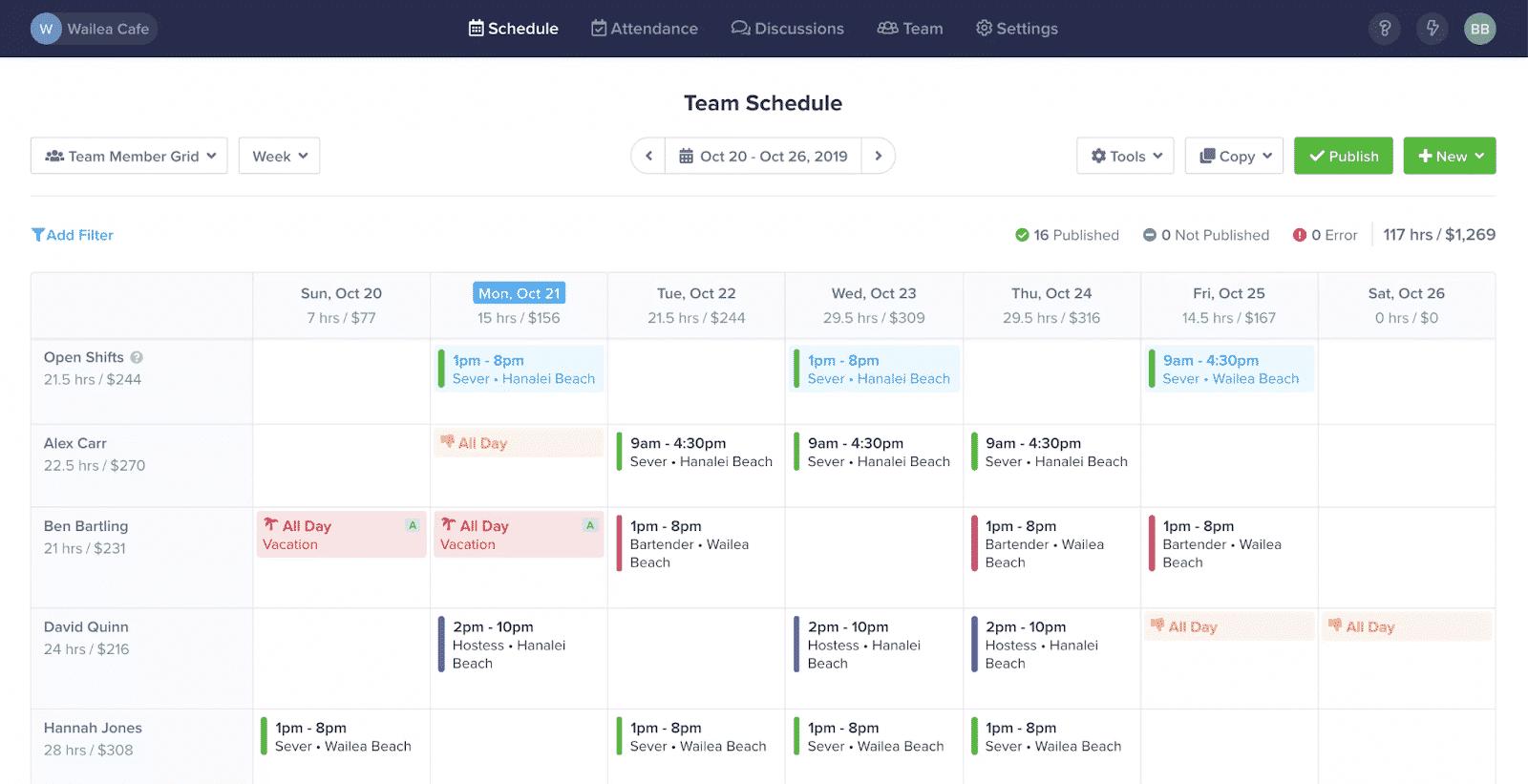 Screenshot of ZoomShift Scheduling on Desktop