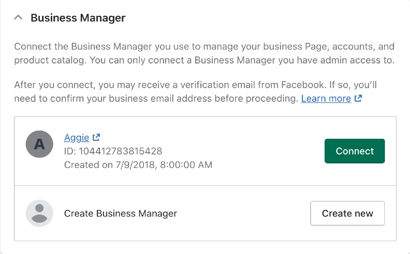 Screenshot of business manager