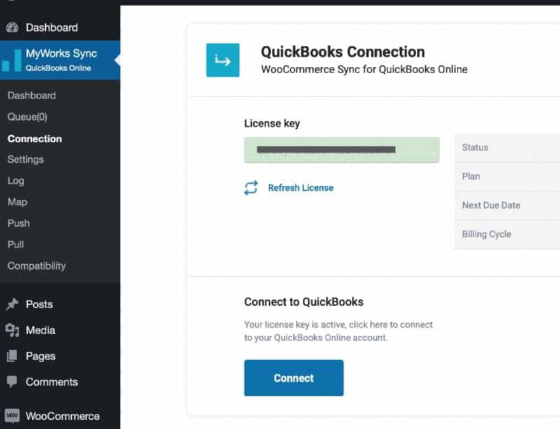 Screenshot of connecting WooCommerce and QuickBooks to MyWorks