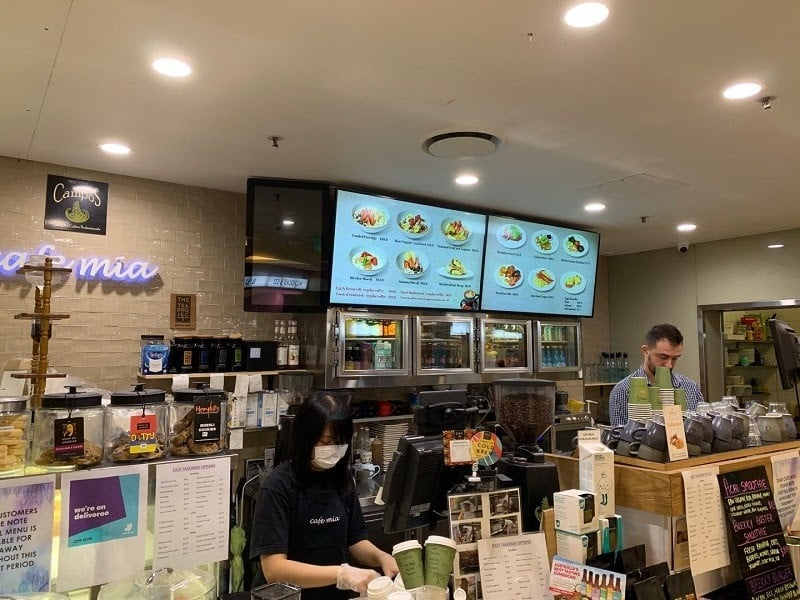 Screenshot of digital menu on a tiledwall