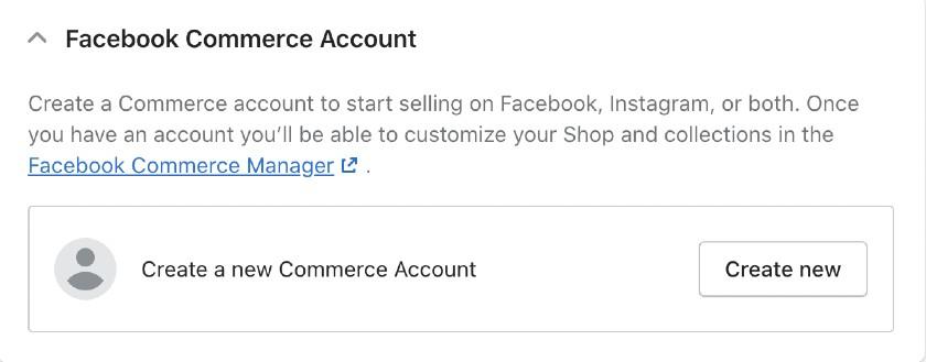 Screenshot of facebook commerce account