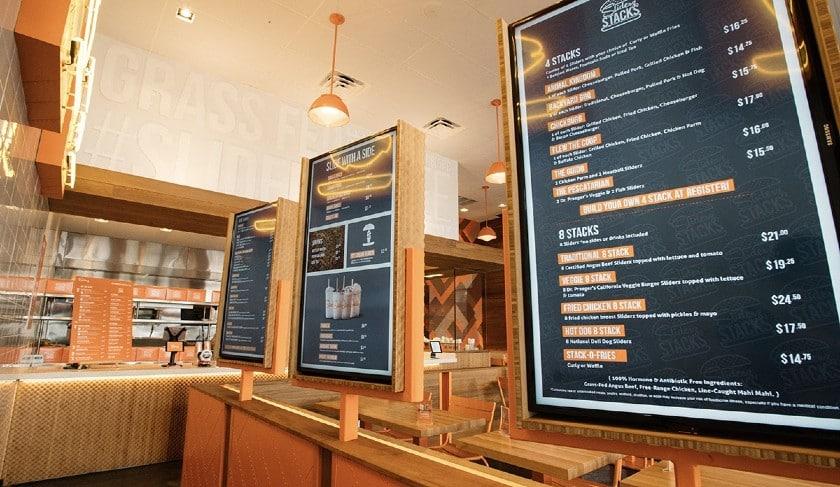 Screenshot of menu screens housed in a sturdy box
