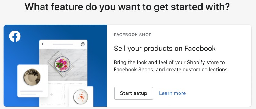 Screenshot of sell your product features on facebook