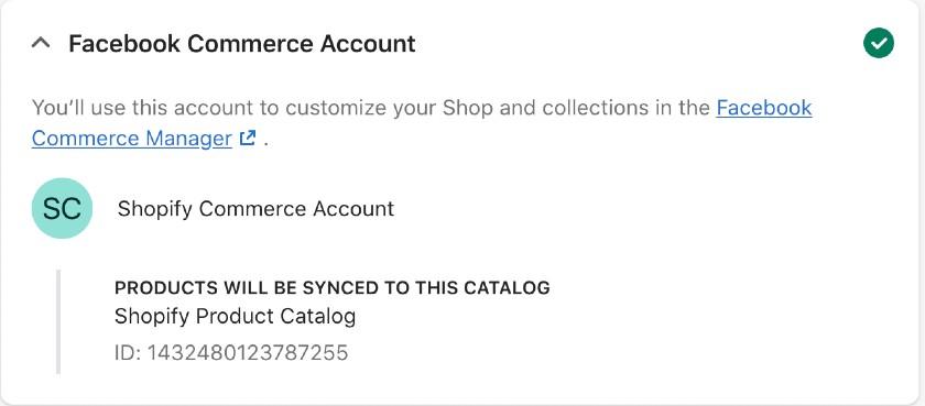 Screenshot of when catalog has been created