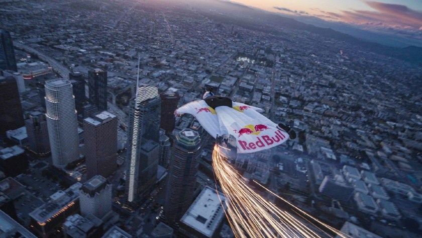 Skydiver with RedBull wingsuits