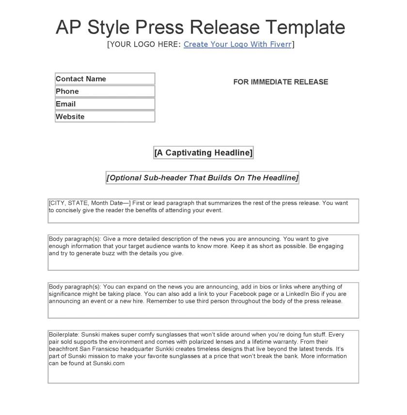AP Press Release Template