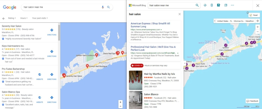 google and microsoft bing local search results