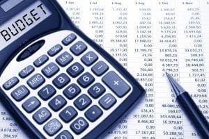 The word Budget written in a calculator screen