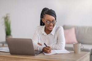 African American Woman Taking Online Course