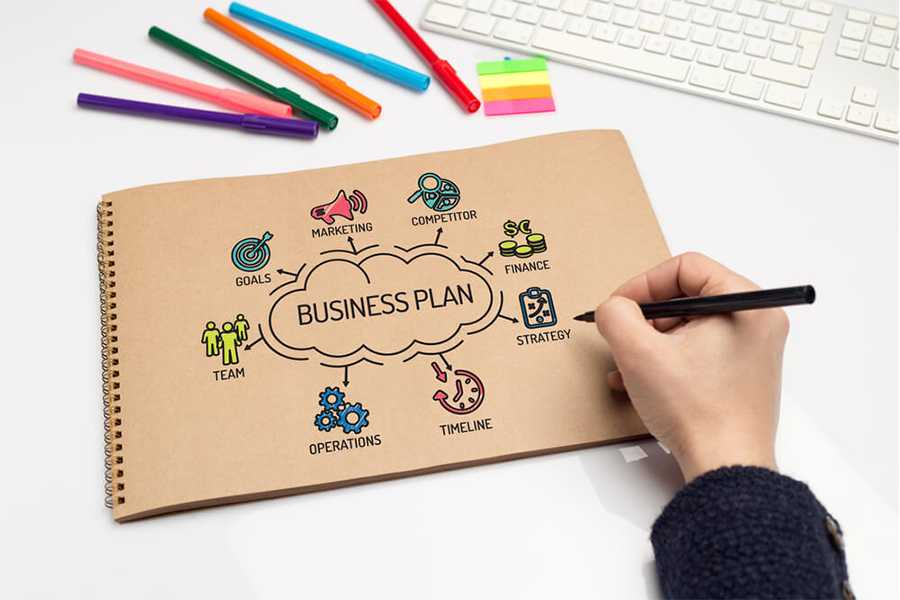 hand draws a business plan concept