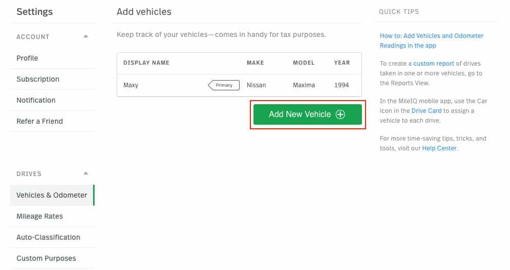 Screenshot of Adding a Vehicle on MileIQ Web Dashboard