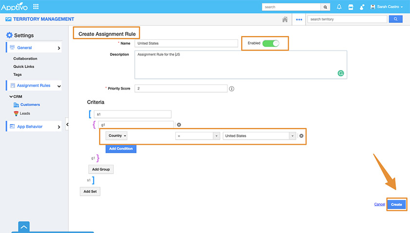 Apptivo Territory Management Interface