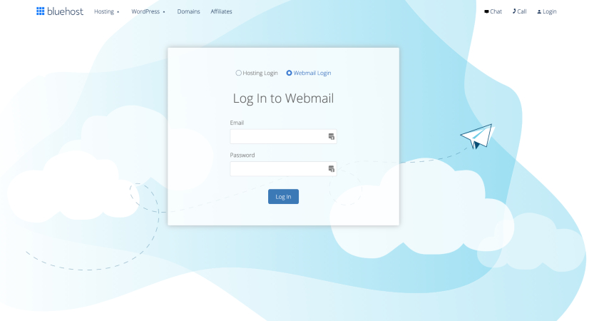 Bluehost Login To Webmail form