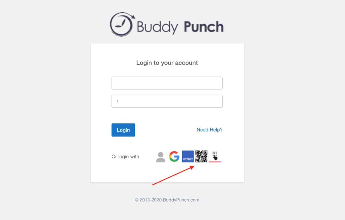 Screenshot of Buddy Punch login account