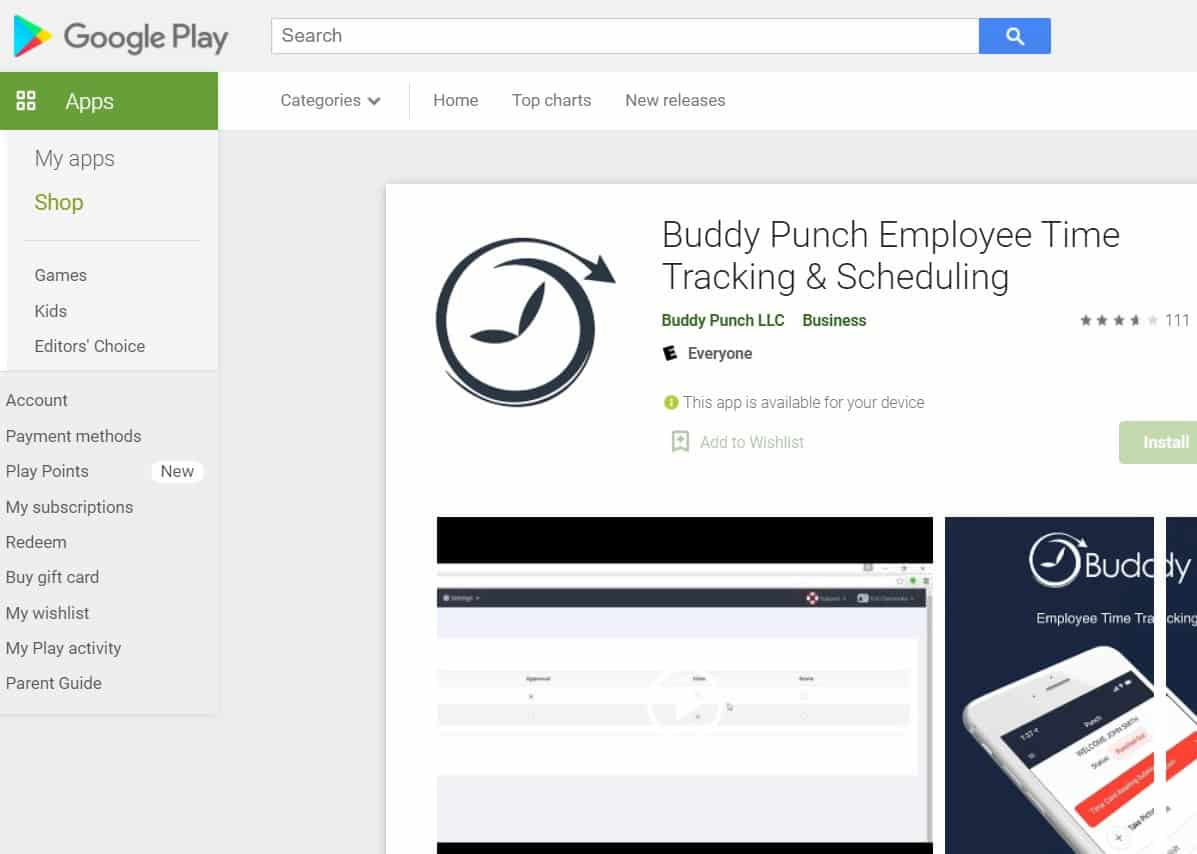 Screenshot of Buddy Punch mobile apps on the App Store