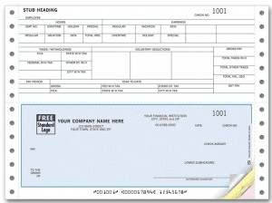 Customized check on bottom continuous paper