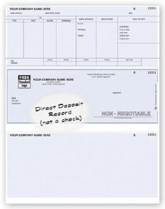 Direct deposit payroll advice for laser printer