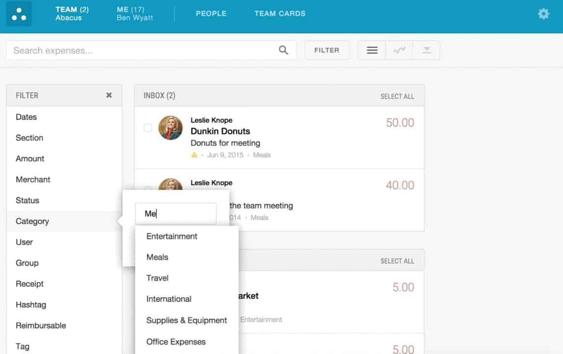 Screenshot of Emburse Abacus Admin Dashboard