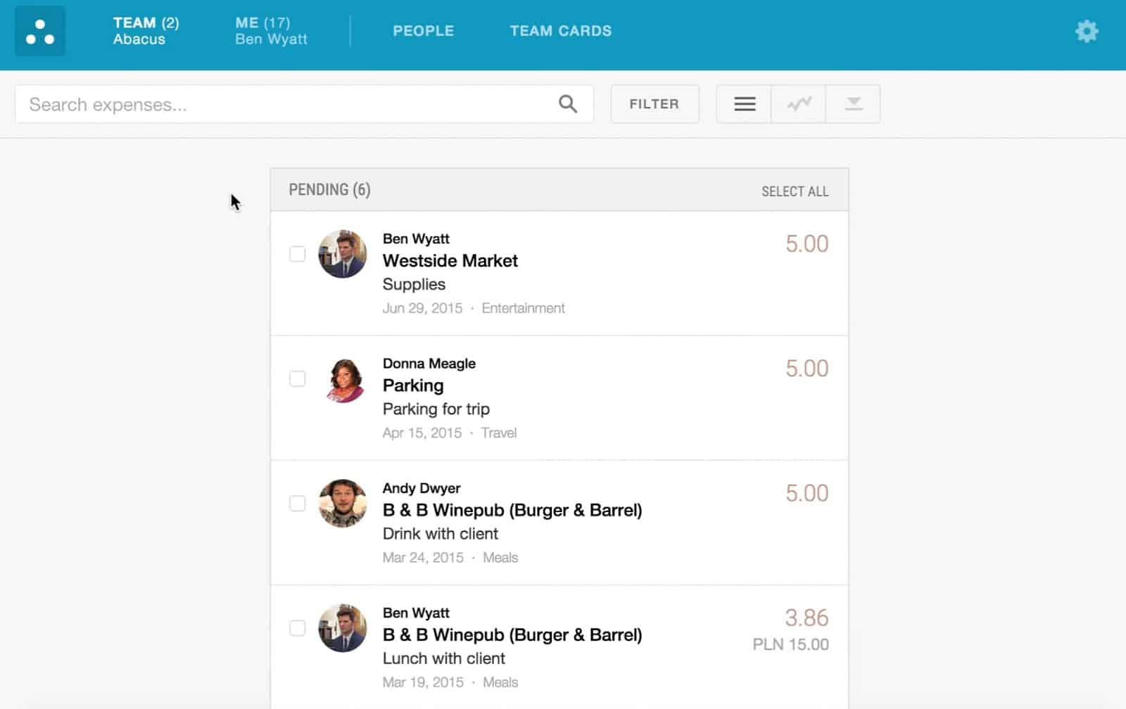 Screenshot of Emburse Abacus Pending Expenses