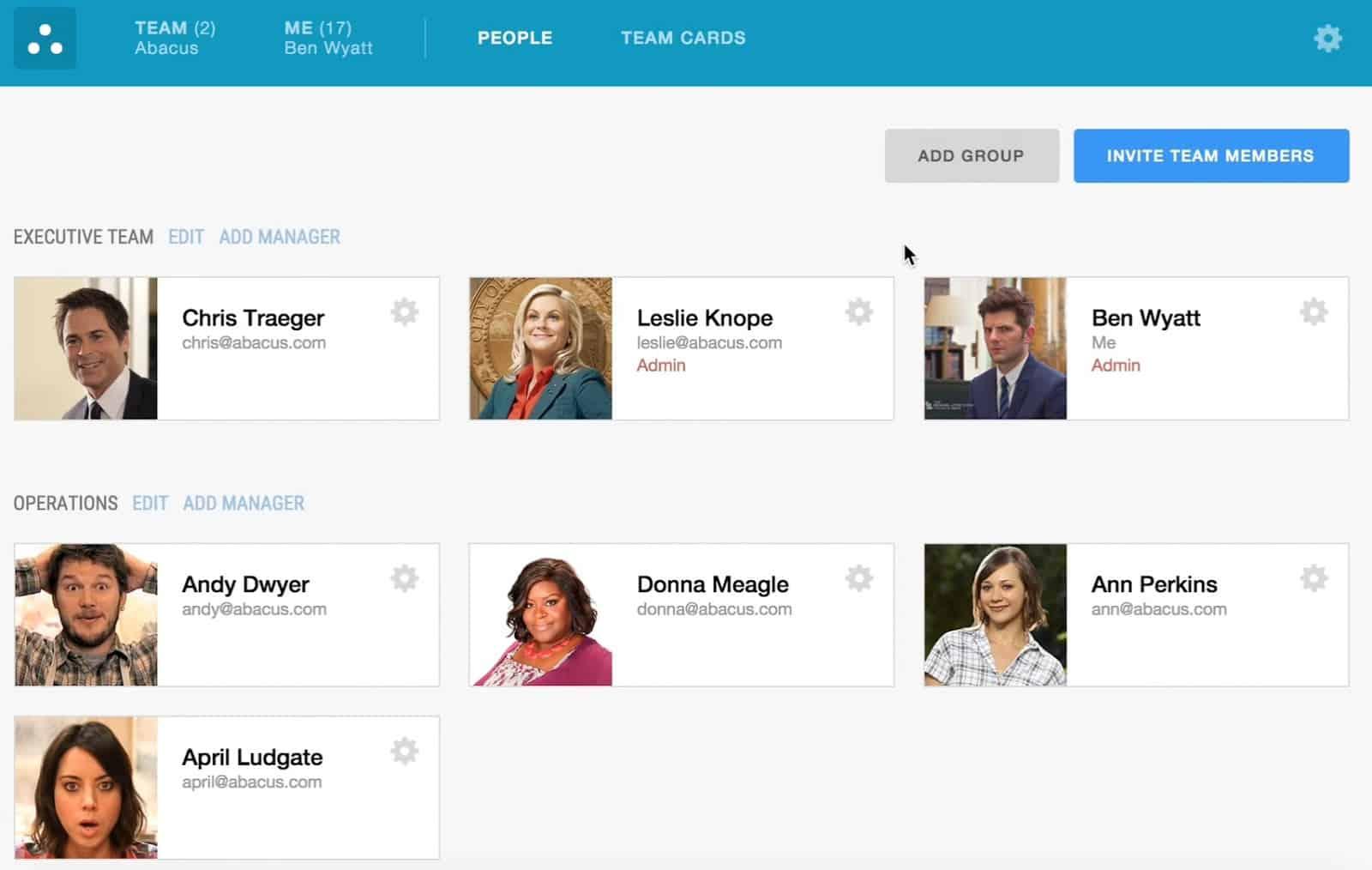 Screenshot of Emburse Abacus People tab