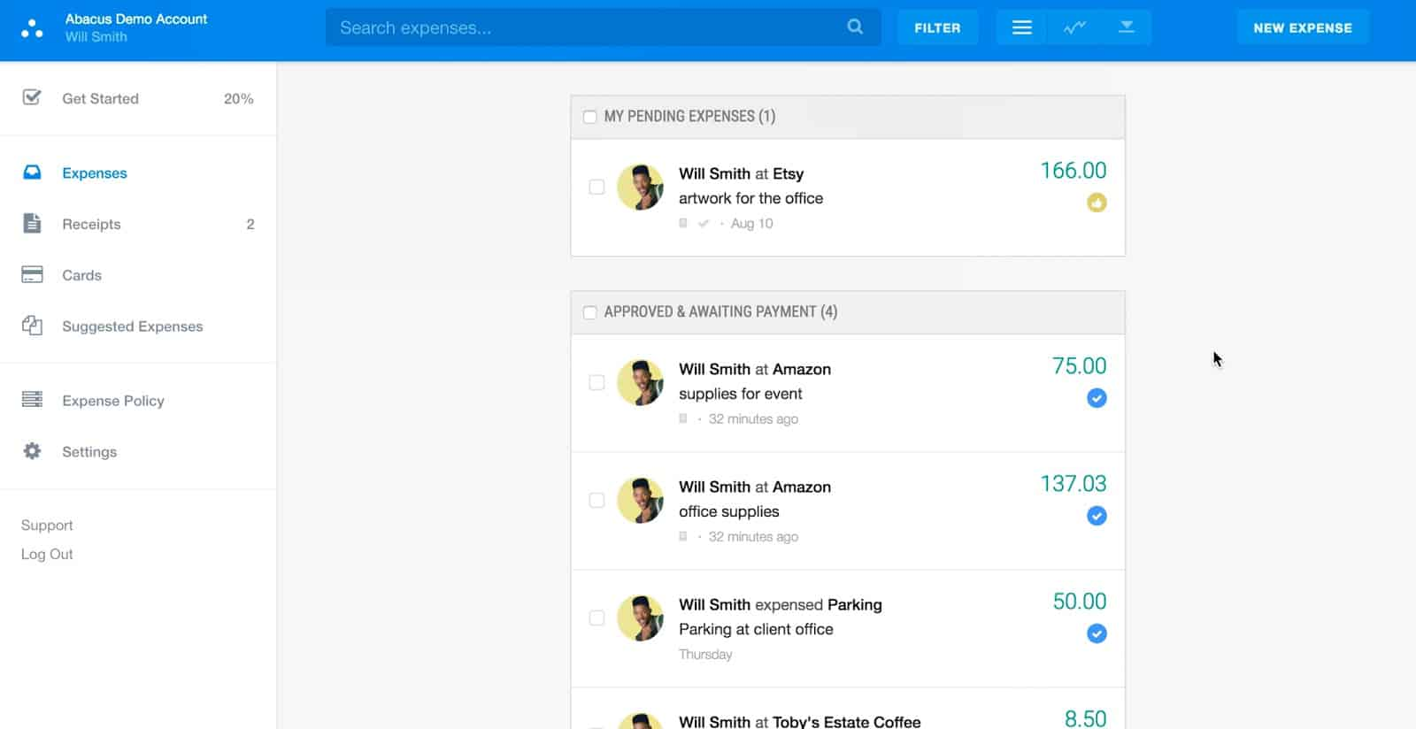 Screenshot of Emburse Abacus User-Expense Dashboard
