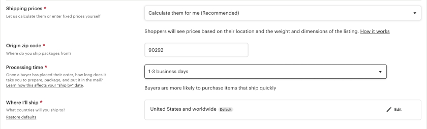 Etsy Shipping Details settings