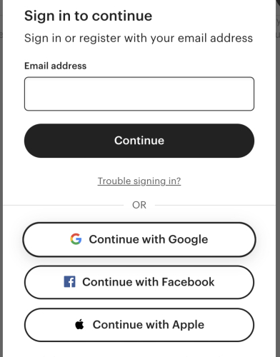 Etsy account sign in options