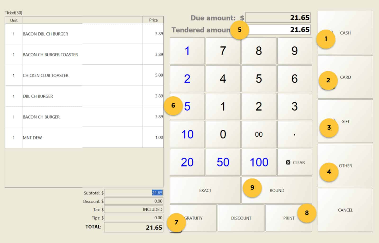 Screenshot Floreant of POS view of payments