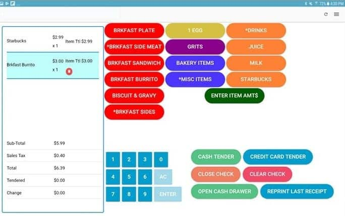 Screenshot of Food Service Ace POS App Example